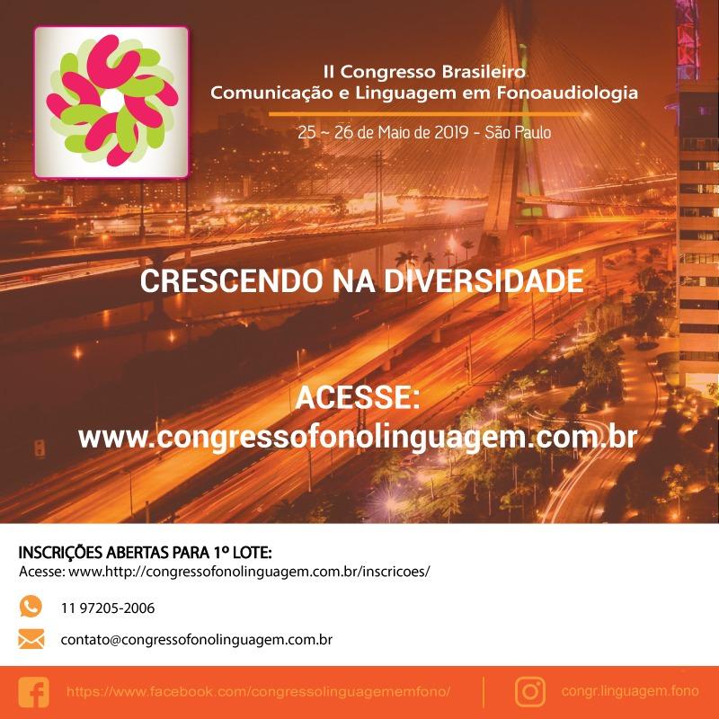 CONGRESSO BRASILEIRO DE COMUNICAÇÃO E LINGUAGEM EM FONO
