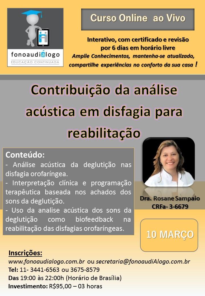 Curso online com a Dra. Rosane Sampaio